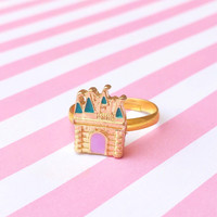 "Femme Fairy Tale & Fantasy Collection ""Golden Pastel Castle"" Rose Gold Purple and Teal Adjustable Enamel Ring"