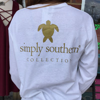Simply Southern Classic Turtle Long-Sleeve Tee - White/Gold