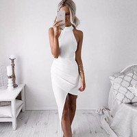 White Asymmetrical Hem  Dress  B007713