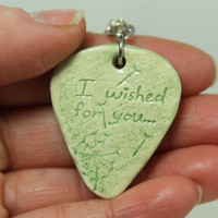 I wished for you Dandelion stamped clay Pick pendant Green Aromatherapy pendant