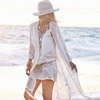Cardigan Beach Sunscreen  Fringed Lace Blouse Beach Cover Up