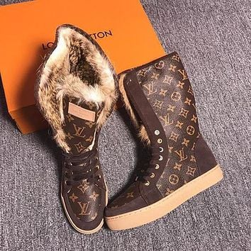 Louis Vuitton Rabbit Hair Fashionable Leisure Boots Shoes