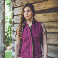 Quilted Puffer Vest in Burgundy