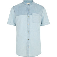 River Island MensLight wash two-tone denim shirt