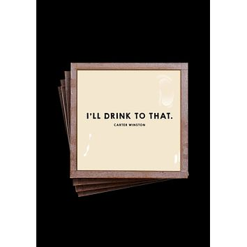 I'll Drink To That Copper & Glass Coasters, Set of 4