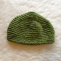 Crocheted Kelly Green WInter Hat - Handmade, Unisex, Mens, Womens, Acrylic, Chunky, Crochet, Knit, Beanie, Cap, Thick, Winter, Cold Weather
