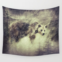 """Forest bear"" Wall Tapestry by Guido Montañés"
