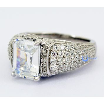 5.5ct Emerald Cut Engagement Fashion RING Signity CZ Rhodium Sterling Silver