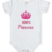 Cute Pink on White 100% Princess One Piece-White Baby Onesuit 00