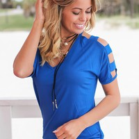 Royal Blue Top with Strap Detail Sleeves