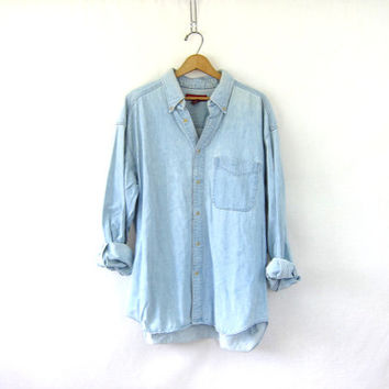 Vintage Washed out denim shirt. Light wash Banana Republic jean shirt. Loose fit boyfriend shirt. Button up. Hipster. tomboy faded denim