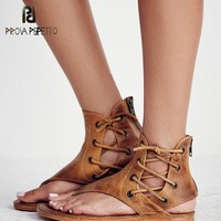 Genuine Hand Made Leather Retro Lace Up Flat Summer Roman Sandals