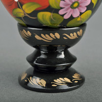 "Decorative wooden egg with a holder ""Blooming Peonies"""