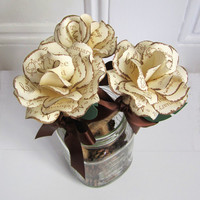 Personalized Rustic Wedding  Rose Pen Set 3 Pens In A  Maine Pinecone Filled Mason Jar