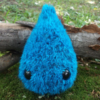 Drizzle the Droplet plush, stuffed raindrop, knit raindrop, water drop toy, raindrop toy, raindrop plush toy, stuffed animal, ready to ship!