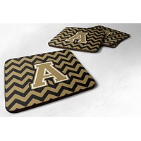 Letter A Chevron Black and Gold  Foam Coaster Set of 4 CJ1050-AFC