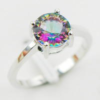 Concave Cut Rainbow Mystic Topaz 925 Sterling Silver Wedding Party Attractive Design Ring Size 5 6 7 8 9 10 11 12 A28 Free Ship