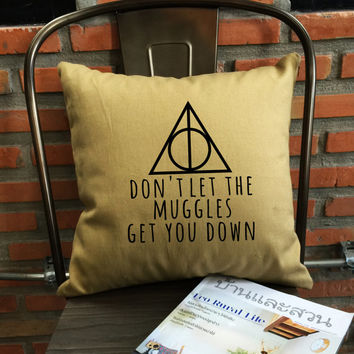 SALE !! Deathly hallows Harry Potter Pillow Cover Handmade pillow Harry potter Throw Pillow cover cotton canvas  Pillow Cover Gift
