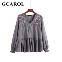 GCAROL 2017 Women New V-Neck Embroidery Floral Blouse Ruffles Peplum Tops Fashion High Quality Cotton Linen Tunic For Ladies