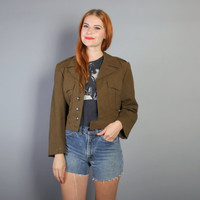 50s Military CROPPED JACKET / Army Green Wool Eisenhower COAT, xs-s