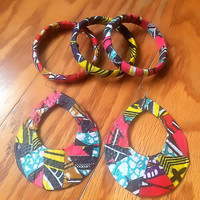 Ankara African Fabric Statement Earrings & Bangle Bracelet Set