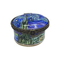 Van Gogh Starry Night Hand Painted Ceramic Box Miniature 1.5L