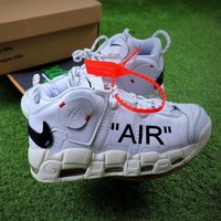 Tagre™ ONETOW OFF White x Nike Air More Uptempo QS White Black Basketball Shoes Sneaker - Best Online Sale