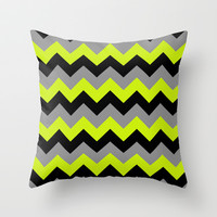 Chevron Silver Lime Throw Pillow by Alice Gosling