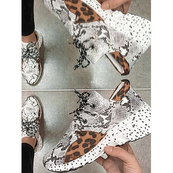 Toba Lace Up Sneakers (Cheetah Snake)