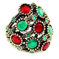 Opening Sale -Sterling silver The Ottoman Empire ring ,ruby and emerald naturel stone