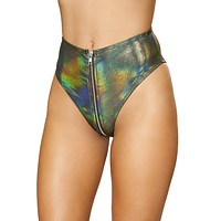 Holographic High Waist Rave Bottoms with Front Zipper