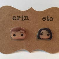 Handmade Plastic Fandom Earrings - Parks and Rec - Andy & April