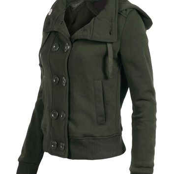 RubyK Womens Classic Double Breasted Pea Coat Jacket