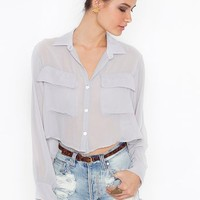 Sheer Crop Blouse in  Clothes Tops at Nasty Gal