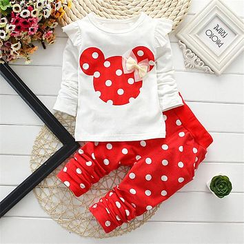 2016 New kids clothes girl baby long rabbit sleeve cotton Minnie casual suits baby clothing retail children suits Free shipping