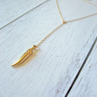 Gold Tusk Necklace, 14k Gold Fill, Y Necklace, Tooth Necklace, Horn Necklace, Lariat Necklace, Delicate Jewelry, Tiny Tusk Necklace