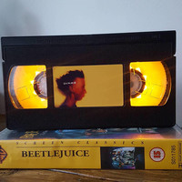 Retro VHS Gummo Night Light Table Lamp. Order any film, movie, series, or actor! Great personal gift. Man Cave, Office, Bedroom!