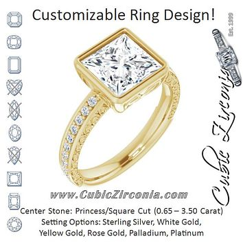 Cubic Zirconia Engagement Ring- The Araceli (Customizable Bezel-set Princess/Square Cut Design with Cloud-pattern Band & Semi-Eternity Accents)