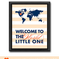 striped new baby decor navy blue baby boy nursery welcome to the world little one gift for new parents world map kid art boy decor baby room