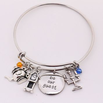 """Beauty and the Beast Bangle""""be our guest""""Pendant with Pendulum,Candlestick Charms Bangle Bracelet for Halloween Christmas Gift"""