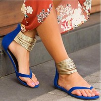 Ladies Party Sexy Gladiator Sandals Shoes Women Flat Ankle Strap Zip Sandals Shoes