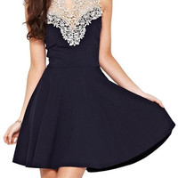 Dark Blue Lace Panel Mini Dress