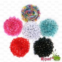 Pok-A-Dot 6 Piece Frayed Shabby Chick Rose Hair Flower Clips (2.5 inches)