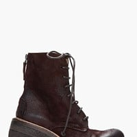 BURGUNDY PARROTTA CHUNKY HEEL LACE UP BOOTS