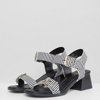 River Island Block Heel Stripe Sandals at asos.com