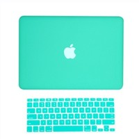 """NEW! Rubberized Hard Case for New Macbook White 13"""" A1342 +Keyboard Skin cover"""