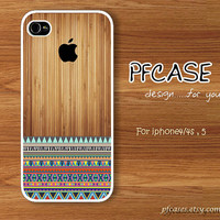 Brown wood with apple pattern : Handmade Case for Iphone 4/4s , Iphone 5