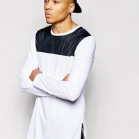 ASOS Longline Long Sleeve T-Shirt With Woven Panel And Side Zips