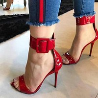 Women's Red Patent Leather Open Toe Buckle Strap High Heels
