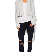 Fine Collection Drape Front Cardigan in Gray